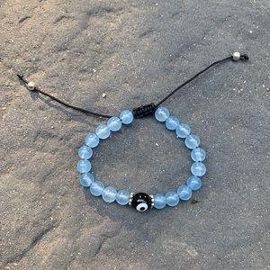 Aquamarine Evil Eye Gemstone Bracelet Vintage